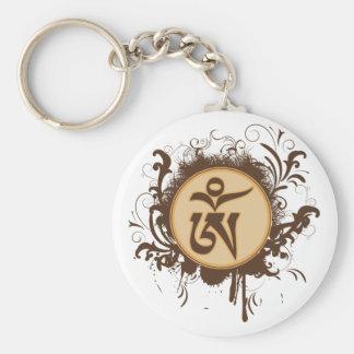 Tibetan Om Basic Round Button Keychain