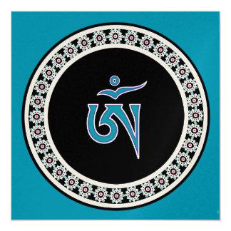 Tibetan Om Symbol in Jewel Ring 5.25x5.25 Square Paper Invitation Card