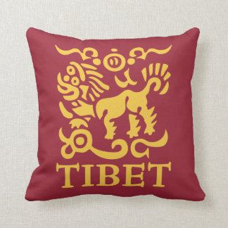Tibetan Snow Lion Throw Pillow