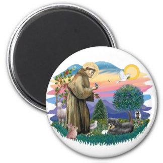 Tibetan Spaniel (tri color) 2 Inch Round Magnet