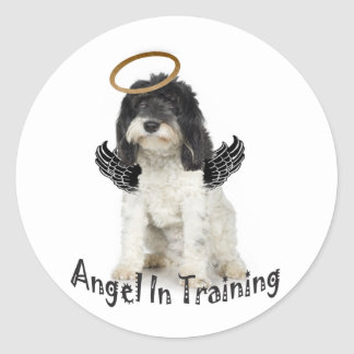 Tibetan Terrier Angel In Training Classic Round Sticker