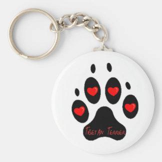 Tibetan Terrier Basic Round Button Keychain