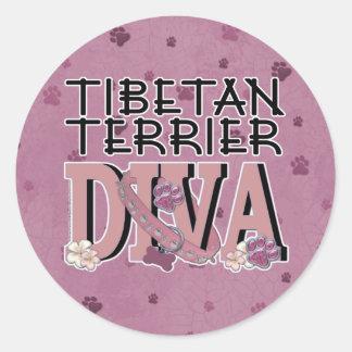 Tibetan Terrier DIVA Round Sticker