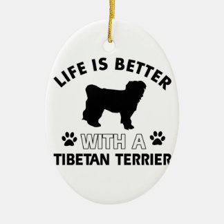Tibetan Terrier dog breed designs Double-Sided Oval Ceramic Christmas Ornament