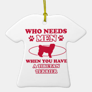 Tibetan Terrier dog breed designs Double-Sided T-Shirt Ceramic Christmas Ornament