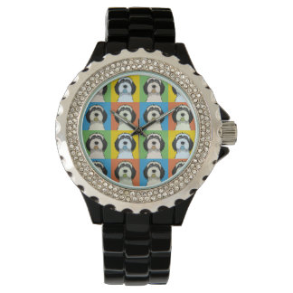 Tibetan Terrier Dog Cartoon Pop-Art Wrist Watch