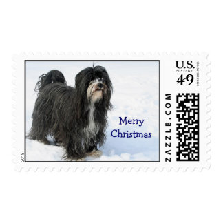 Tibetan Terrier dog snow custom Christmas postage