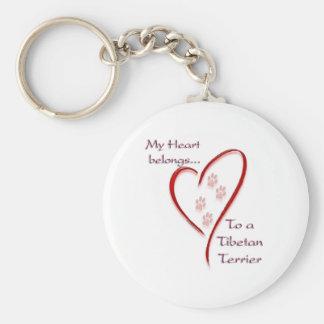 Tibetan Terrier Heart Belongs Key Chain