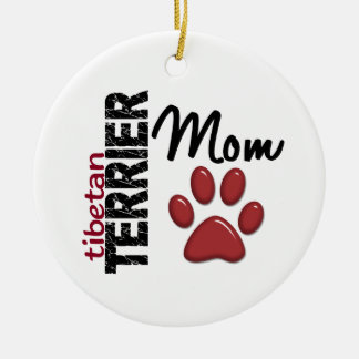 Tibetan Terrier Mom Paw Print 2 Double-Sided Ceramic Round Christmas Ornament