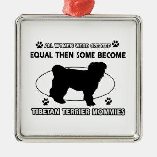 Tibetan Terrier  Mommy Design Square Metal Christmas Ornament