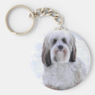 Tibetan Terrier Sable and White Keychain