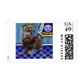 Tibetan terrier senses smiing moon stamp