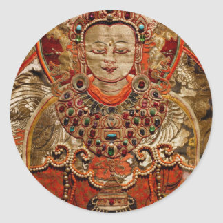 TIBETAN THANGKA ART WORK ON SILK CLASSIC ROUND STICKER