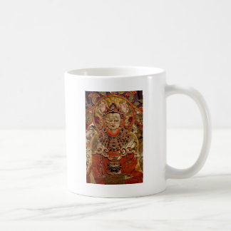 TIBETAN THANGKA ART WORK ON SILK COFFEE MUG
