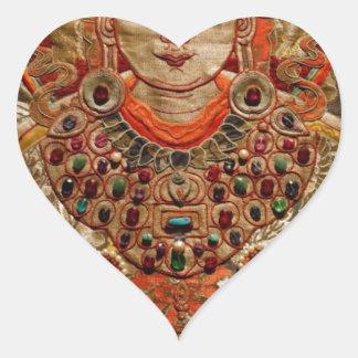 TIBETAN THANGKA ART WORK ON SILK HEART STICKER