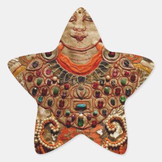 TIBETAN THANGKA ART WORK ON SILK STAR STICKER
