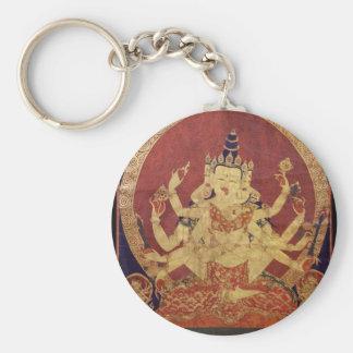 Tibetan Thanka of Guhyasamaja Akshobhyavajra Keychain