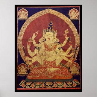 Tibetan Thanka of Guhyasamaja Akshobhyavajra Poster