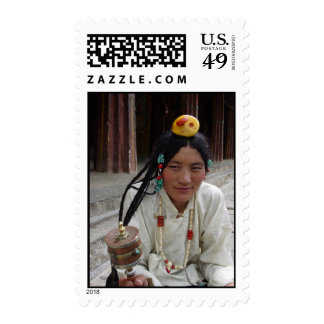 Tibetan Woman at Sera Monastery Postage Stamps