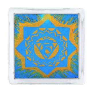 tibetano azul del oro tantric insignia plateada