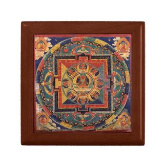 Tibetano Thanka de la antigüedad de la mandala de  Cajas De Recuerdo