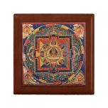 Tibetano Thanka de la antigüedad de la mandala de  Joyero Cuadrado Pequeño