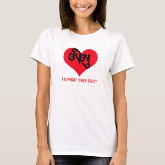 """Tibetian Sanscrit Heart, I SUPPORT """"FREE TIBET"""" T-Shirt"""