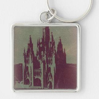 Tibidabo Barcelona Silver-Colored Square Keychain