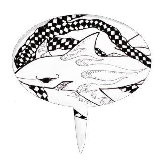 tiburón a cuadros decoración de tarta