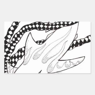 tiburón a cuadros pegatina rectangular