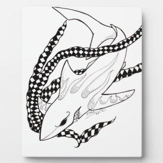 tiburón a cuadros placa de plastico