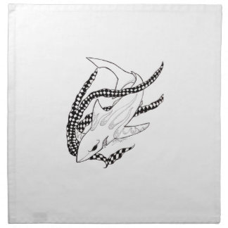tiburón a cuadros servilletas imprimidas