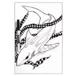 tiburón a cuadros tablero blanco