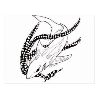 tiburón a cuadros postal