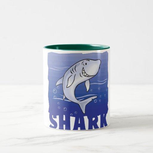 Tiburón amistoso del niño tazas de café