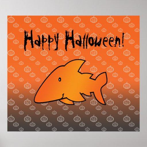 Tiburón anaranjado en el poster del modelo de la c
