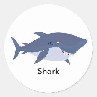 Tiburón animado pegatina redonda