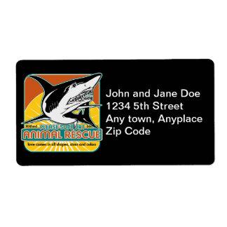 Tiburón animal del rescate etiquetas de envío