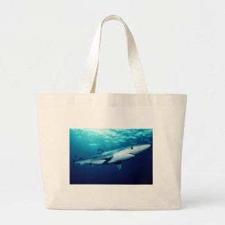 Tiburón azul bolsa tela grande