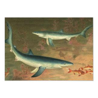 """Tiburón azul de la vida acuática marina del invitación 5"""" x 7"""""""