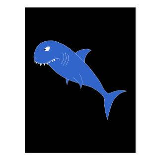 Tiburón azul en negro tarjeta postal