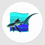 Tiburón azul enrrollado pegatina