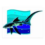 Tiburón azul enrrollado tarjeta postal