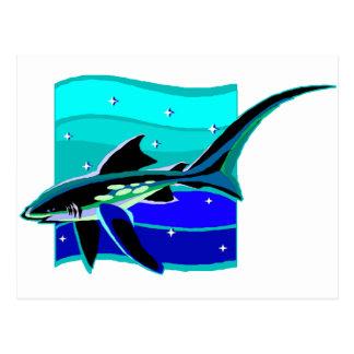 Tiburón azul enrrollado tarjetas postales