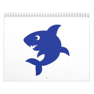 Tiburón cómico azul calendarios