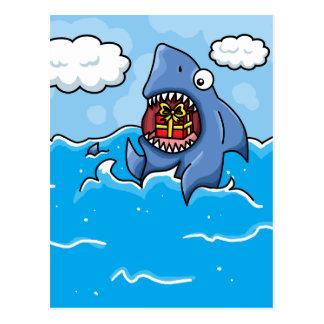 Tiburón con el presente tarjetas postales