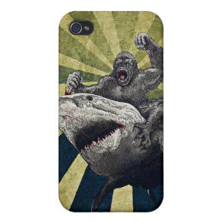Tiburón contra gorila iPhone 4 funda