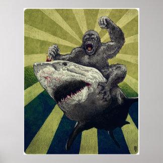 Tiburón contra gorila poster