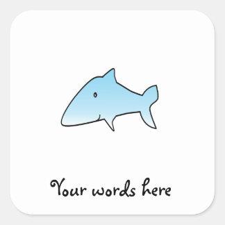 Tiburón de azules cielos pegatina cuadrada