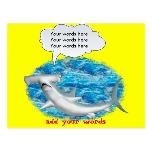 Tiburón de Hammerhead que habla Tarjeta Postal